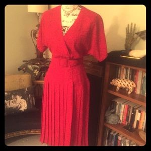 Vintage 80s Beau Monde 40s Style Red Pinup Dress